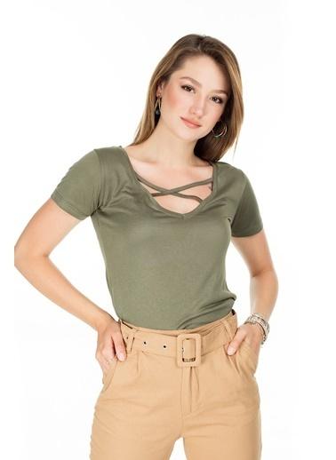 Lela Lela Havuz Yaka Kadın T Shirt 5411023 Haki